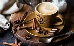 Обои гвоздика, шоколад, корица, кофе