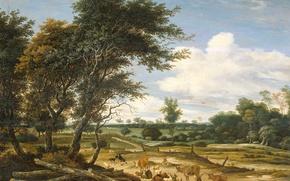 Картинка дерево, масло, картина, Соломон ван Рёйсдал, Пейзаж с Пастухом и Скотом