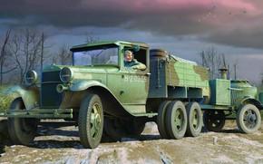Картинка СССР, ГАЗ-ААА, повышенной проходимости, советский грузовой автомобиль, полевая кухня