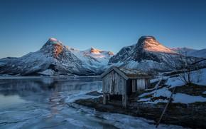 Картинка зима, закат, горы, вечер, Норвегия