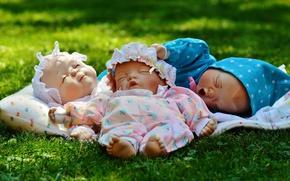 Обои новорожденные, трава, игрушки, дети, малыши, куклы