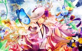 Картинка небо, облака, цветы, бабочка, букет, маска, рога, колосья, парень, кимоно, бубенчики, Natsume Yuujinchou, Тетрадь дружбы …