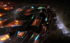 Картинка космос, туманность, сооружение, звёзды, Retro-futur