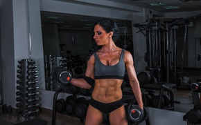 Картинка Female, workout, fitness, training, dumbbell, bodybuilder, shout