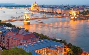 Обои мосты дома здания, город, Венгрия, Hungary, лето, панорамный вид, река Дунай, боке, wallpaper., размытость, вечер ...