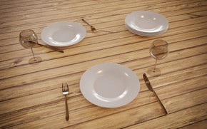 Картинка стол, бокал, тарелка, Рендеринг, столовые приборы