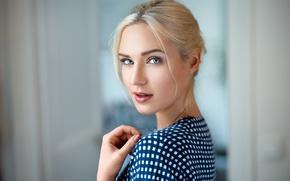 Картинка взгляд, девушка, модель, портрет, макияж, прическа, блондинка, боке, Eva, Lods Franck