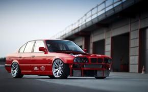 Картинка Красный, Авто, BMW, Машина, E34, Немец, Larry Chen, BMW E34