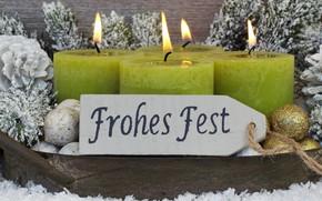 Картинка новый год, свечи, шишки, декор, ветки ели