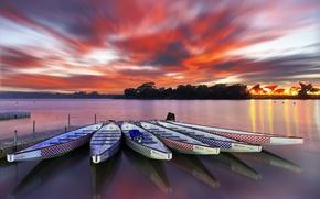 Картинка закат, лодки, причал
