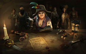 Картинка sword, game, snake, pirate, hat, woman, ken, tatoo, blade, captain, kaizoku, taichou, Sea of Thieves