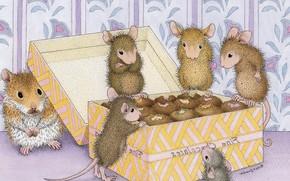Картинка хомячок, коробочка, гостинцы, вкусняшки, детская, Ellen Jareckie, мышка, друзья