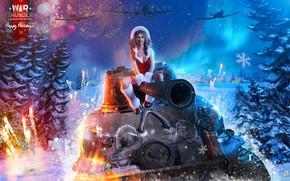 Картинка девушка, танк, Happy New Year, самолёты, war thunder