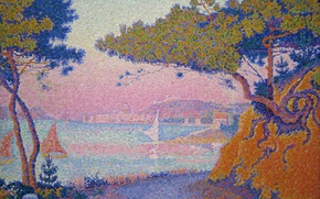 Картинка пейзаж, картина, Поль Синьяк, пуантилизм, Гольф-Жюан