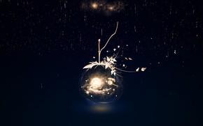 Картинка космос, дождь, шар, фэнтези, Y_Y