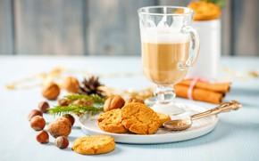 Обои корица, напиток, кофе, печенье, орехи