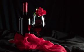 Обои красный, вино, бокал, роза, ткань