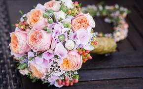 Картинка цветы, букет, pink, flowers, bouquet, wedding, свадебный