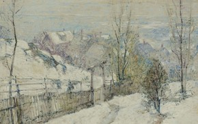Картинка зима, пейзаж, картина, Guy Carleton Wiggins, Тихо Падающий Снег