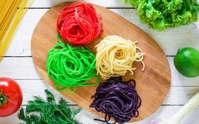 Обои лайм, pasta, помидор, спагетти, color, листья салата, italian, овощи, avocado, разделочная доска, укроп