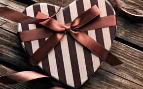 Картинка праздник, подарок, лента, бант, сердечко, день Святого Валентина