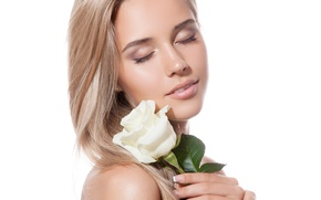 Обои white rose, Eyes closed, blonde