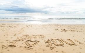 Картинка песок, море, пляж, любовь, сердце, love, beach, I love you, sea, heart, romantic, sand