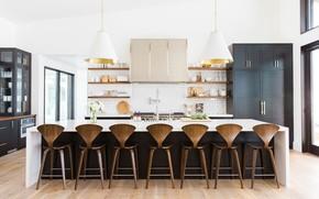 Картинка стол, стулья, кухня, шкаф, студия, столовая