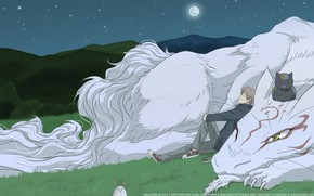 Картинка ночь, аниме, двое, Natsume Yuujinchou, Тетрадь друзей Нацумэ