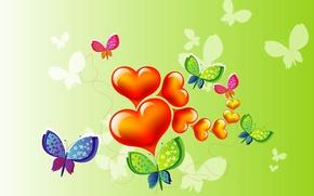 Картинка коллаж, бабочка, сердце, вектор, открытка, День Святого Валентина