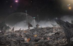 Картинка камни, планета, антенна, звёзды, the outpost, ландщафт