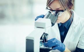 Картинка woman, laboratory, microscope
