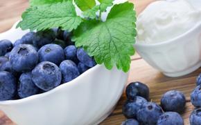 Картинка ягоды, черника, сливки, fresh, blueberry, cream, berries
