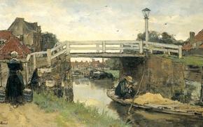 Картинка город, лодка, масло, картина, Мост, канал, холст, Якоб Хендрикус Марис