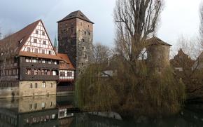 Картинка дом, отражение, река, башня, Германия, Бавария, Нюрнберг