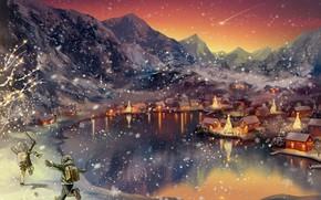 Картинка зима, пейзаж, дети