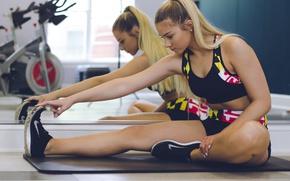 Обои legs, blonde, workout, fitness, gym