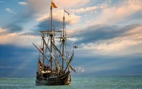 Картинка природа, корабль, красота