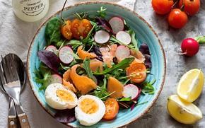 Картинка яйца, помидор, салат, лосось