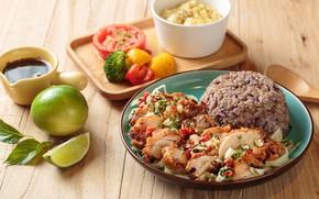 Картинка мясо, лайм, рис, овощи, соус