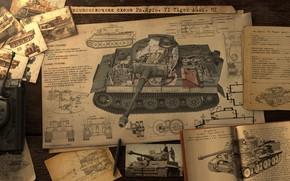 Картинка layout sheme tiger, компоновочная схема Pz, Kpfw, VI Tiger Ausf