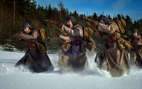 Обои ура, Красная армия, зима, снег, РККА, В бой, атака