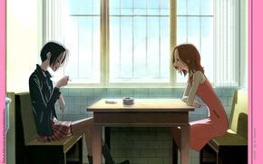 Картинка стол, комната, диван, окно, сигарета, двое, пепельница, art, подруги, ai yazawa, nana, nana komatsu, nana …