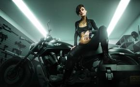 Картинка поза, оружие, женщина, мотоцикл, татуировки, badass girl