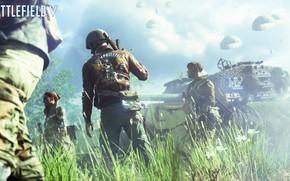 Картинка солдаты, танк, Battlefield 5, Battlefield V, паршутисты