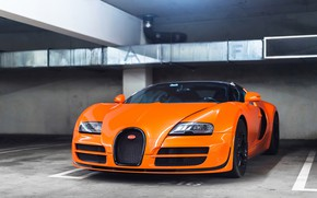 Обои Bugatti, Grand, Veyron, Orange, Sport, Vitesse