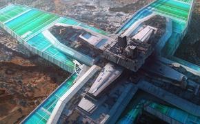 Картинка ландшафт, здание, сооружение, постройка, water facility on a dry planet