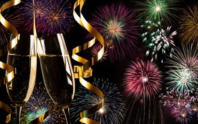 Картинка салют, colorful, Новый Год, фейерверк, new year, happy, night, fireworks, champagne, 2017, holiday celebration