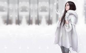 Картинка зима, снег, настроение, арт, шубка, Maou Renjishi