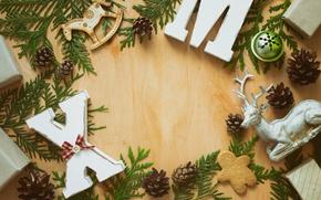 Картинка Новый Год, Рождество, wood, merry christmas, decoration, xmas, fir tree, holiday celebration